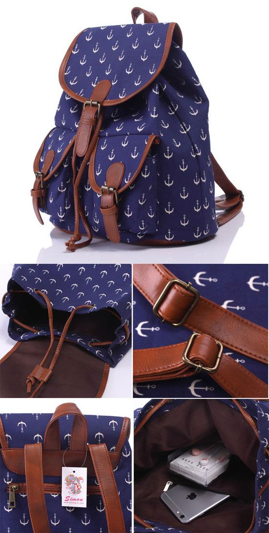 Leisure Navy Blue Anchor Rucksack Girl College Canvas Schoolbag Backpack for big sale! #anchor #college #bag #backpack