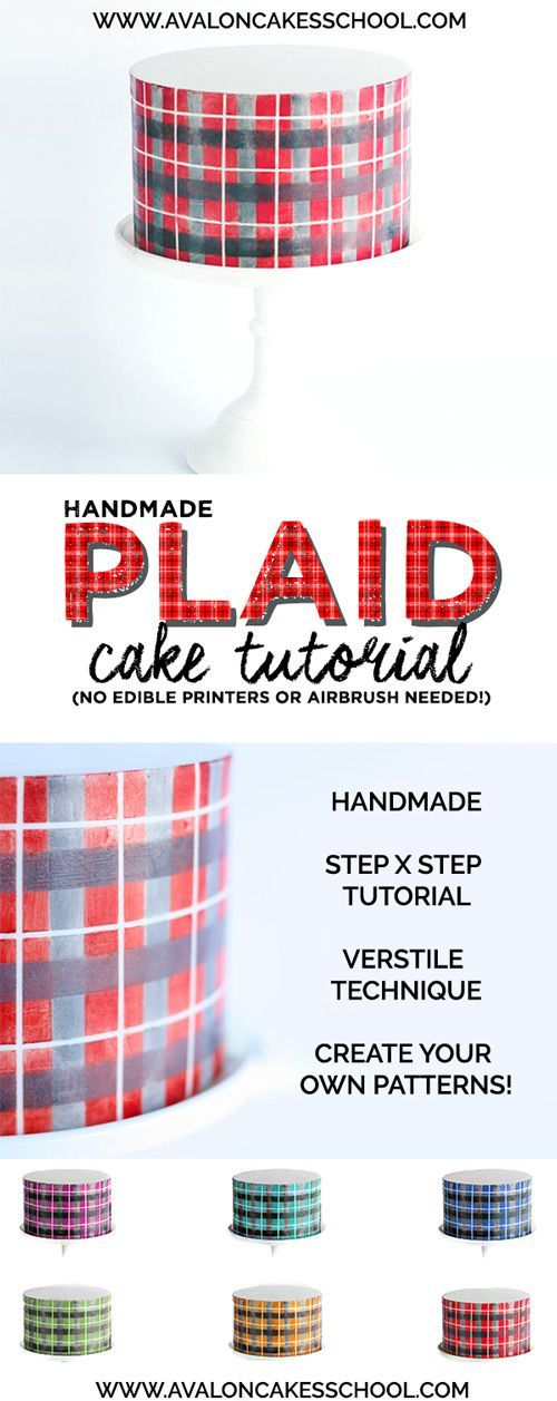 How to make a plaid cake with no airbrush or edible printer! Really cool technique!! So many possibilities!! Plaid Cake Tutorial www.avaloncakesschool.com
