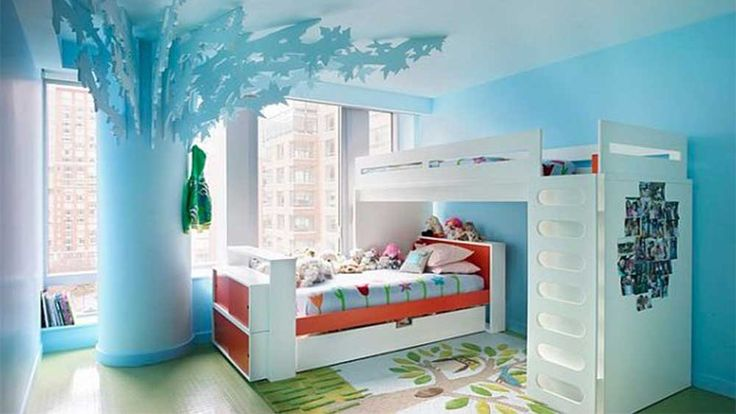 Simple Interior Design for The Bedroom For Girls with blue wall paint and white bed