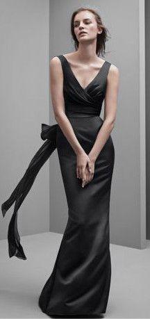 White by Vera Wang V Neck Satin Dress with Wrap Front Bodice Style VW360170 #davidsbridal #bridesmaiddress #blacktiewedding