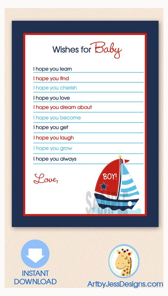 Red, White and Blue Sailboat Nautical Baby Shower Wishes for Baby Advice Card, Printable JPG Instant Download
