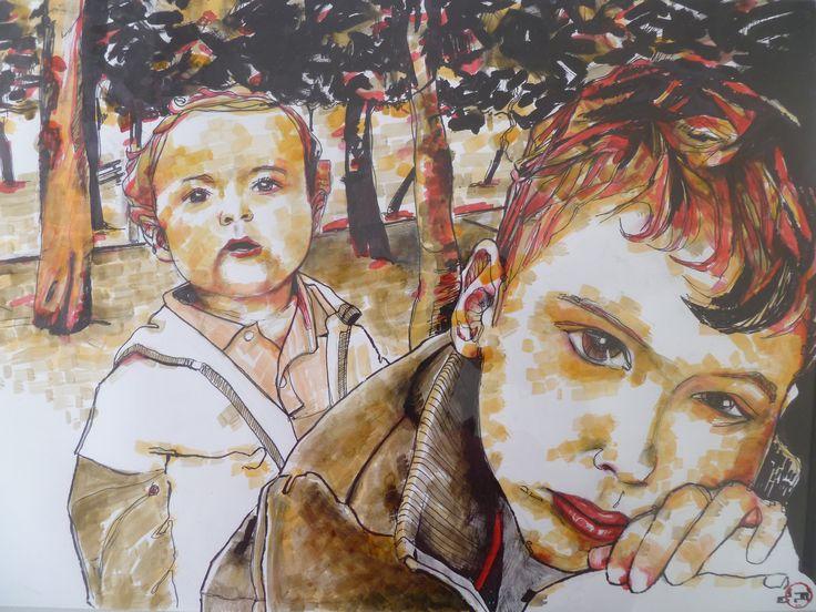 Tilemachos & Neratzis / custom portrait (29,7 x 42, ink on paper)