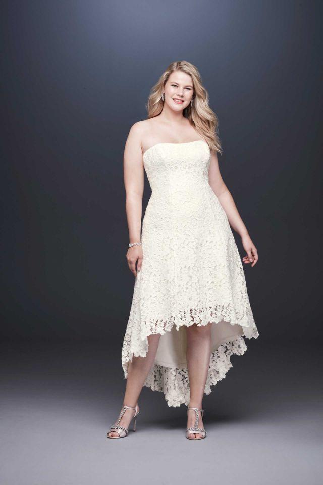 7eaaa106 <p>Galina strapless lace dress, $300, available spring 2019 at David's  Bridal </p>