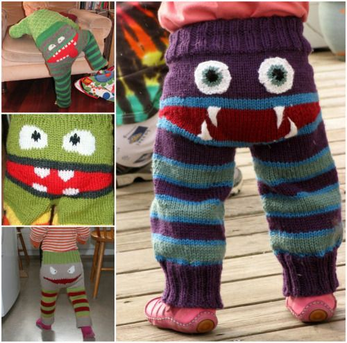 Grumpy Bum Monster Pants - free knitting pattern from The Wandering Lady. Very Halloween-y!