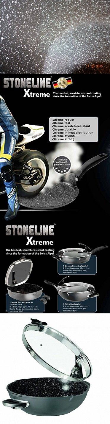 """Germany's Stoneline Xtreme Series Non-stick Non-Toxic Stone Coating Cookware 12.8"""" Wok - 2016 Top of the line model, better taste food"""