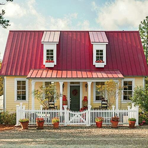 Yellow Exterior, Red Metal Roof, Green Front Door And