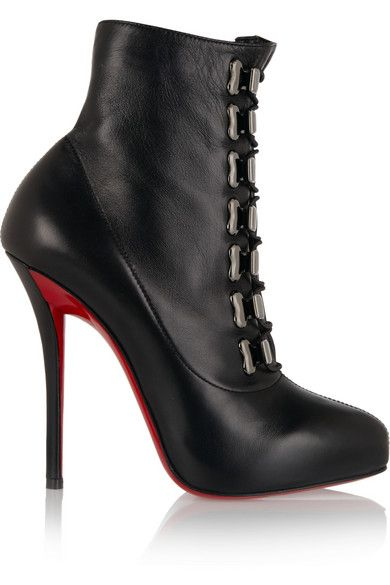 Heel measures approximately 120mm/ 5 inches with a 20mm/ 1 inch platform Black leather Lace-up front  Made in Italy