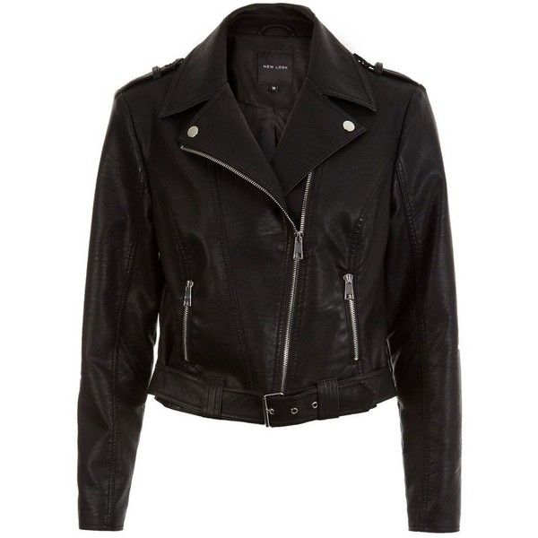 New Look Black Leather-Look Belted Biker Jacket ($51) ❤ liked on Polyvore featuring outerwear, jackets, black, vegan jacket, long sleeve jacket, vegan leather motorcycle jacket, vegan leather jacket and biker jacket