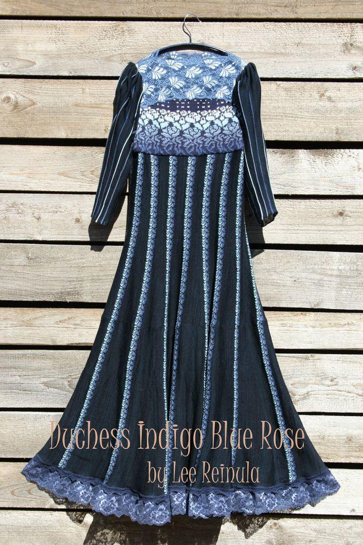 Knitted dress Duchess Indigo Blue Rose - Lee Reinula design 2014