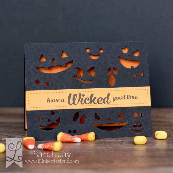 Wicked spooky Halloween card made with Lil' Inker Designs Pumpkin Faces dies, Ghost Border dies, and Boo and Faces 2 clear stamps