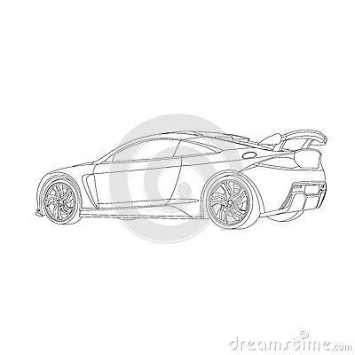 Illustration sport car with custom rim and spoiler