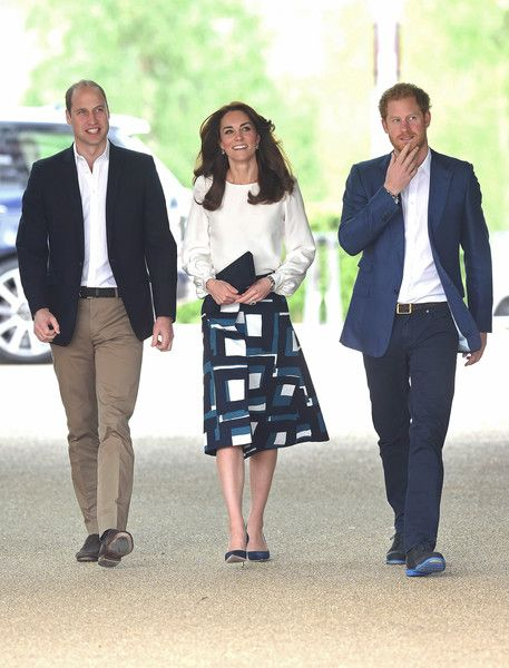 Prince William, Duke of Cambridge, Catherine, Duchess of Cambridge and Prince Harry arrive to attend the launch of Heads Together Campaign at Olympic Park on May 16, 2016 in London, England.