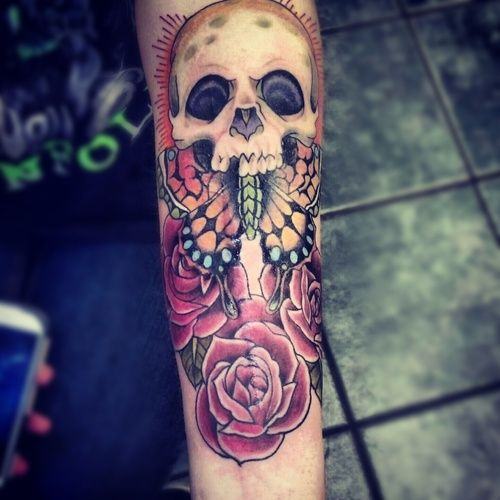 Skull, butterfly and roses - the perfect combination for a tattoo. #tattoo #tattoos #ink #inked