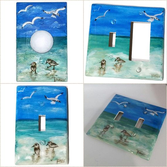 Rustic Beach Themed Light Switch Plates Hand Painted Ocean Outlet