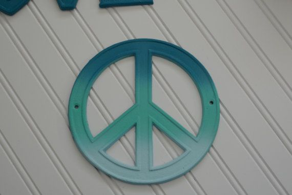 Peace >> Peace Sign. Cast Iron Ombre Peace Sign Wall Hanging. Cottage Chic, Retro, Hippie, Hipster ...