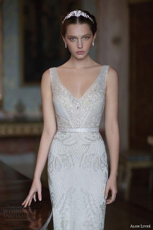 alon livne white 2015 bridal butterfly sleeveless embellished sheath wedding dress straps v neckline front