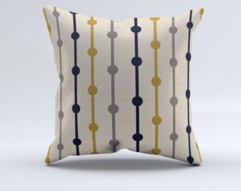 Blue gray mustard and creme striped throw pillow by PrintArtShoppe
