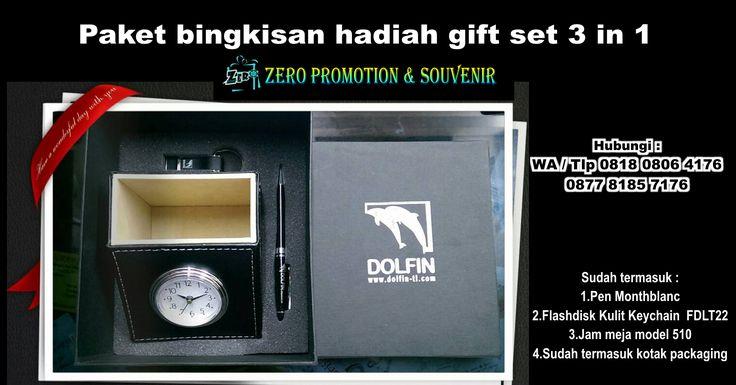 Paket bingkisan hadiah gift set 3 in 1 – Jam, pen, flashdisk