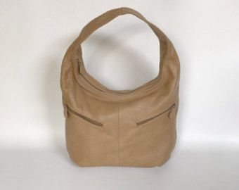 Slouchy Leather Handbag with Pockets,  Women Fashion Camel Purse, Casual Trendy Bags, Aly
