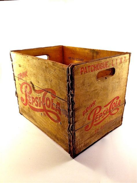 RARE - Vintage 1956 Pepsi Cola Wooden 12 Soda Bottle Crate - Patchogue Long Island, New York