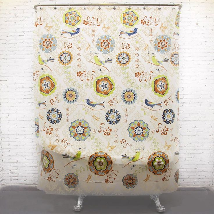 Batik Flowers And Birds Waterproof Water Repellent Antibacterial EVA Extra Long Rustic Shower Curtain