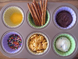 Feeding therapy.  Sensory therapy.  Fun therapy.  Example:  child with autism loves pink.  Use pink muffin liners!  So fun.