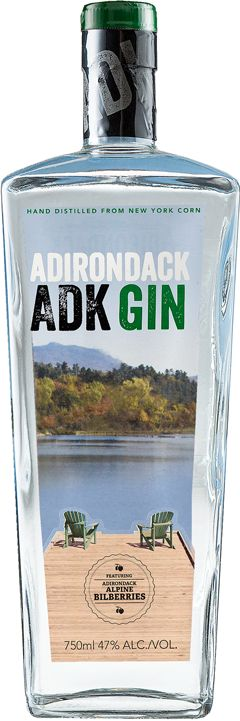 ADK GIN. 47 % ABV. Contemporary. This is a dry GIN that uses 10 different botanicals and essential oils in it's production. The most unique is Alpine Bilberries native to he Adirondacks.