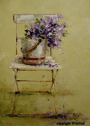 """'A SHOWER OF LILACS""""  original french garden chair painting.  FREE usa shipp… – My Art"""