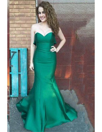 Chic Modern Mermaid Long Dark Green Satin Ruffled Prom Dress