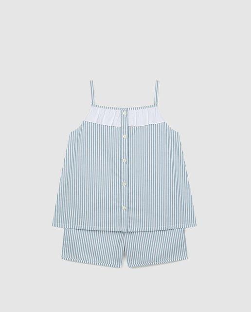 Pijama corto de niña Gocco con rayas bicolor