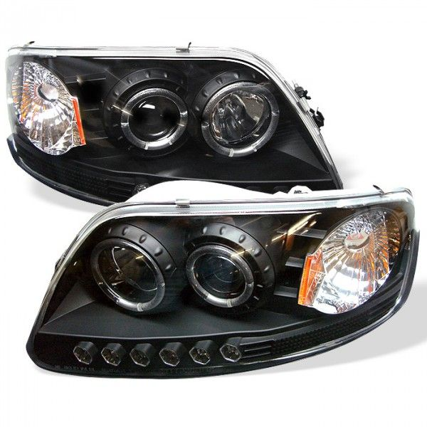 1997 FORD F-150 BLACK HALO LED PROJECTOR HEADLIGHTS - SPYDER AUTO - (PAIR)