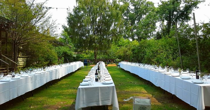 reception tables on south lawn for W+V's wedding, August 8, 2014; Artscape Gibraltar Point, Toronto Island; design by Davis Floral Creations