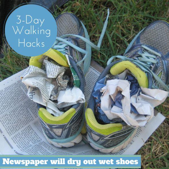 Susan G Komen 3 Day Walking Hacks Newspaper in Shoes