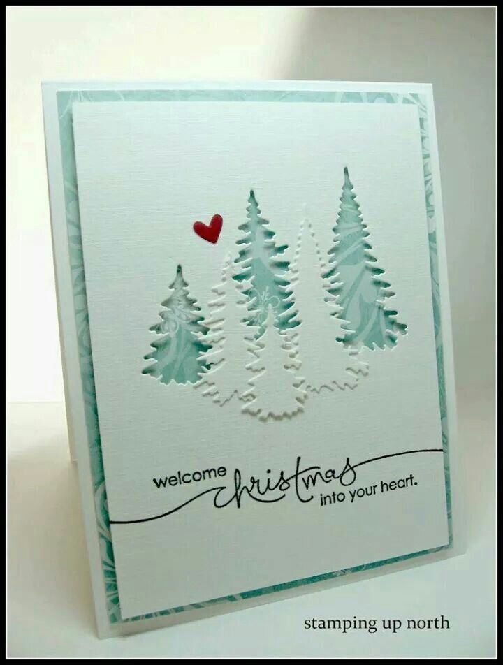 This card could be easy to mass produce.   I might emboss the little trees in front. I think I could do the writing with my Cricut.