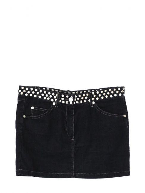 Mini jupe en velours côtelé noir et studs argent Taille 34/36