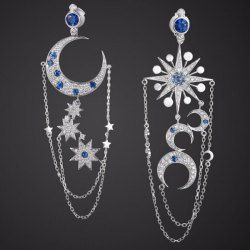 SHARE & Get it FREE | Pair of Graceful Asymmetric Star Moon Earrings For…