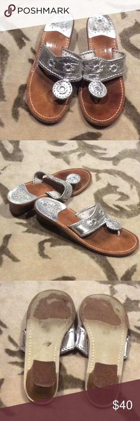 """Jack Rogers Silver Hamptons Navajo Sandals Metallic silver leather Jack Rogers sandals with flowers stitched on 1.5"""" heel. Gently used. Jack Rogers Shoes Sandals"""