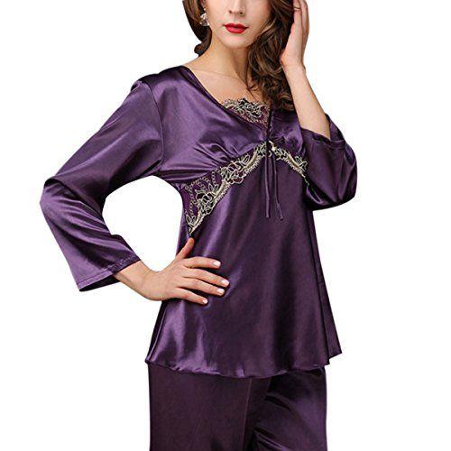 Aivtalk Elégant Ensemble de Pyjam Femme Dentelle Col-V Nuisette Manche Longue en Satin Pantalon Longue Vêtement de Nuit Chemise de Nuit en Soie Imitant Taille 40-46 - 3 Couleurs #Aivtalk #Elégant #Ensemble #Pyjam #Femme #Dentelle #Nuisette #Manche #Longue #Satin #Pantalon #Vêtement #Nuit #Chemise #Soie #Imitant #Taille #Couleurs