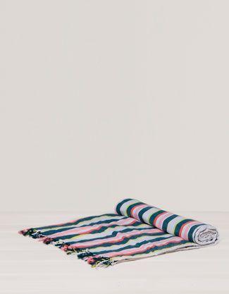 Multi-coloured stripe print sarong towel - Beachwear Collection - Oysho