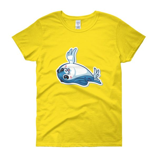 Seal High Five Womens T-Shirt – Happy Seal Collection – Gildan 5000L  Product: Gildan 5000L Ladies Heavy Cotton Short Sleeve T-Shirt  A heavy cotton, classic fit ladies scoop neck t-shirt. • 100% cotton jersey • Pre-shrunk • Near-capped sleeves • Mid-scoop neck • ½ rib double needle collar • Missy contoured silhouette with side seam