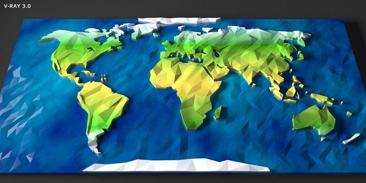 Low Poly World Map   	Very cool and unique design of cartoon low poly flat map of the world, modeled on 3ds Max 2014.    default scanline & v-rayExtremely fast rendering!Element 3D ready  	Need sph...