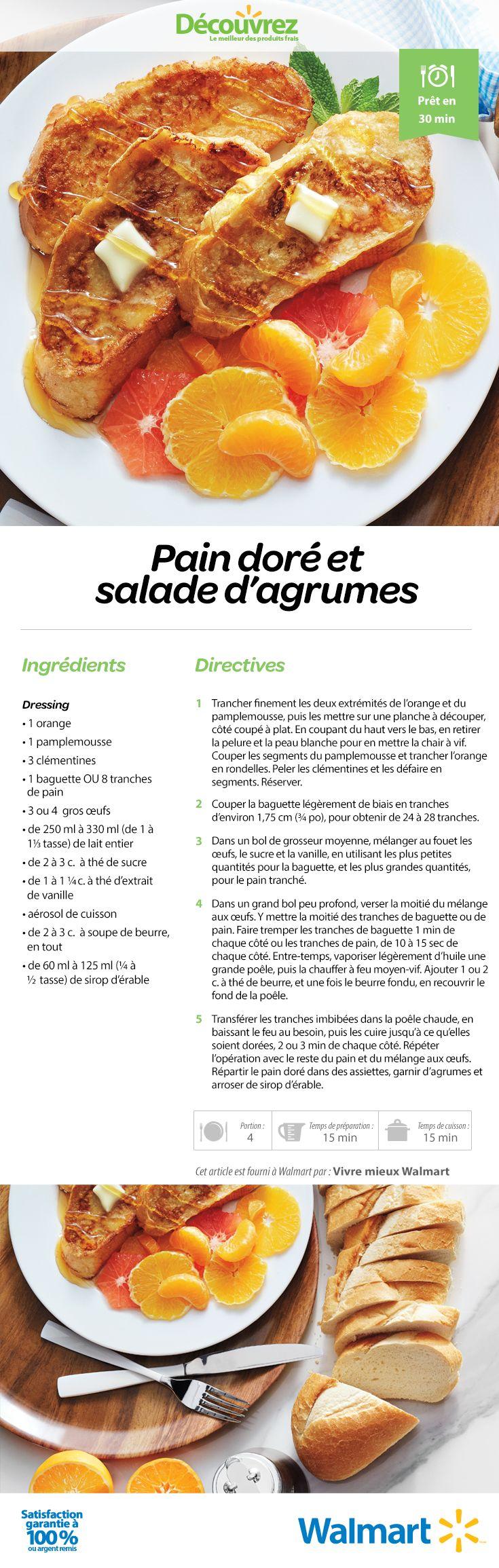 Une recette de brunch classique… réinventée : servir avec une salade d'agrumes juteux! #RecettesDeBrunch #PainDoré #recettes #RecettesDeDéjeuner #SaladeDagrumes
