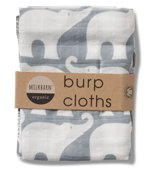 MilkBarn Baby Bundle of Burpies (2 Organic Cotton Burp Cloths) -Whale/Elephant