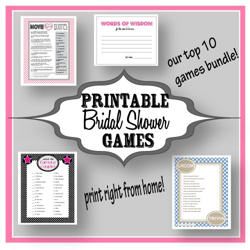 Printable Bridal Shower Games - Print Right From Home- No more hassle about which games to play! #bridalshower #bridalshowergames