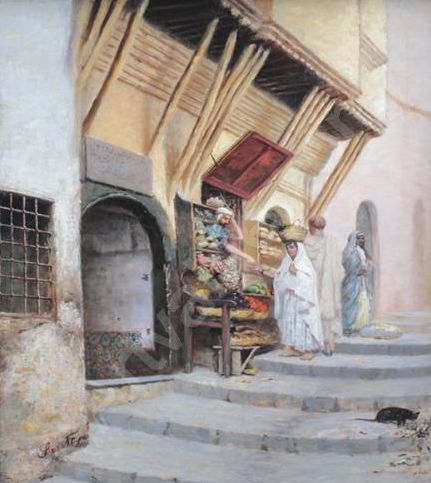 Joseph Sintes (Alaior 1829 - Alger 1913) Titre «Rue marchande »
