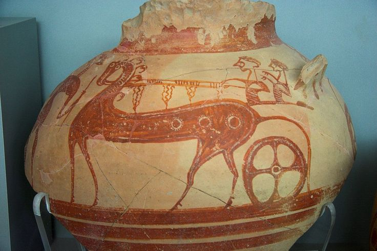 Late Bronze Age horse and chariot from Mycenae.
