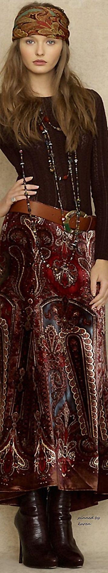 Ralph Lauren Pre Fall 2015 • ≫∙∙☮ Bohème Babe ☮∙∙≪• ❤️ Babz ✿ιиѕριяαтισи❀ #abbigliamento #bohojewelry #boho