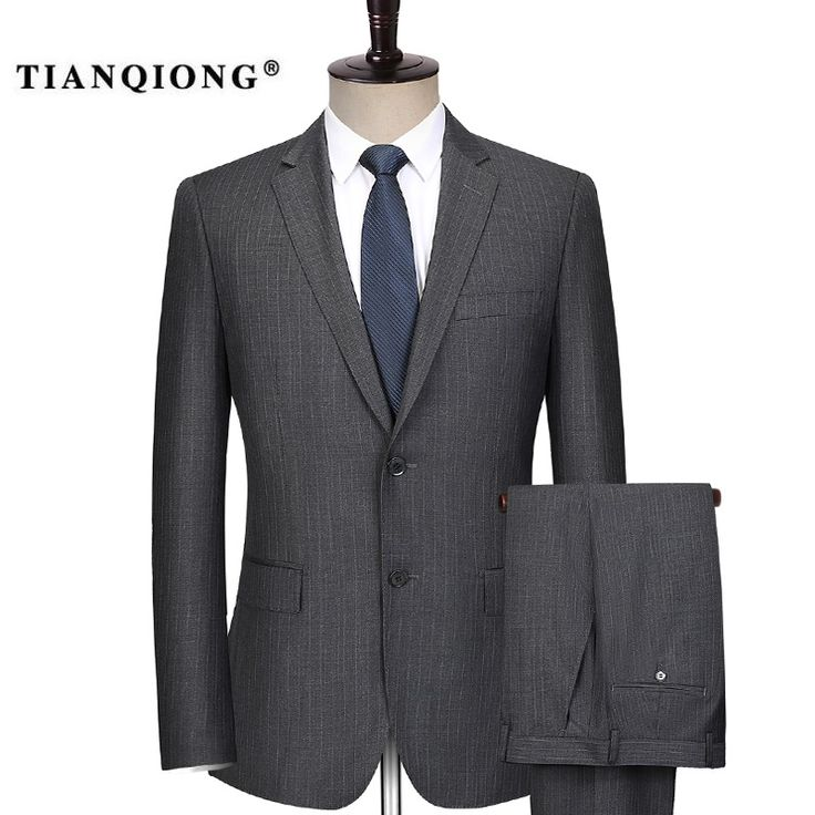 TIAN QIONG 2017 New Men Suits Stripe Terno Wedding Suit 2 Buttons Groom <font><b>Tuxedos</b></font> Tailor Made Men Suits Custom Made (Jacket+pants)