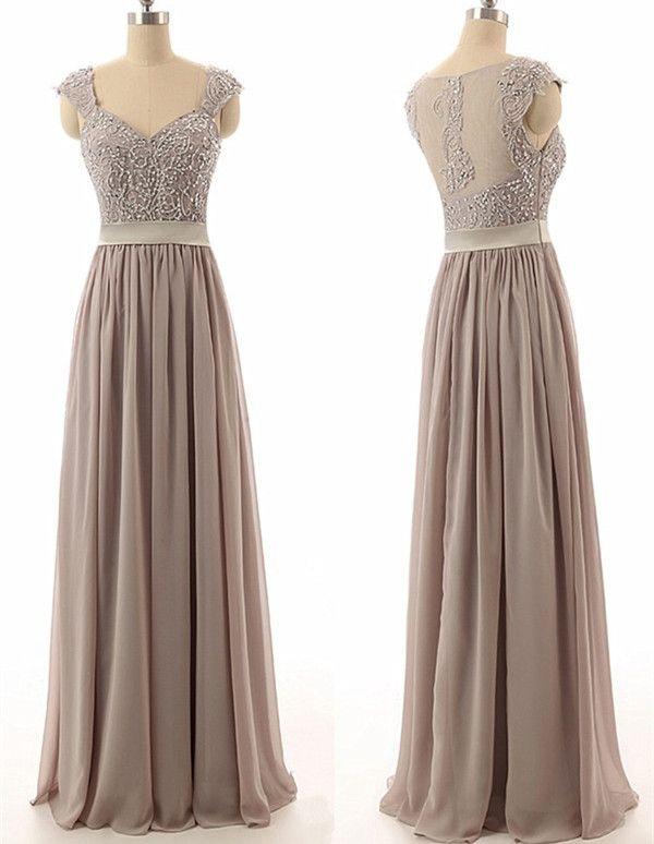 Chiffon Bridesmaid Dress,Fashion A-Line Sweetheart Bridesmaid Dress ,Floor Length Grey Bridesmaid Dress,Chiffon Floor Length Prom Dress,beading prom dress