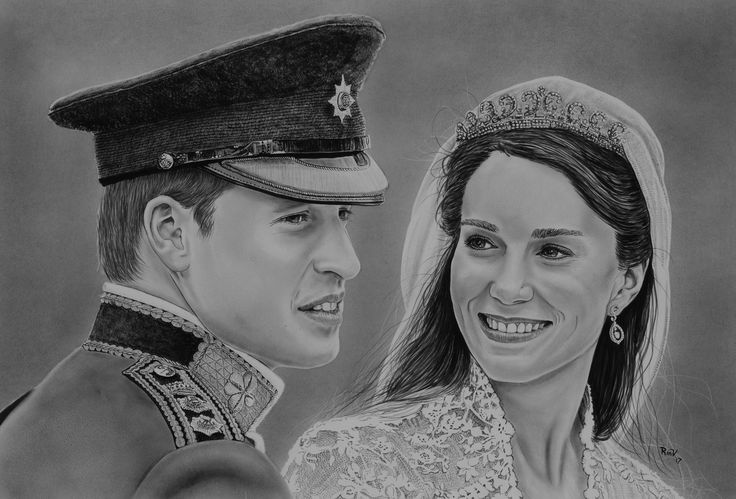 "Original painting ""Wedding portrait William and Kate"" by Rudy M Vandecappelle - dry brush - oil on paper. For commissions of any portraits (people, wedding, animals), please visit my website."